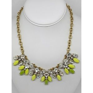 J. Crew Yellow & Green Rhinestone Necklace NWT